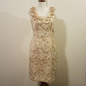 NWT London Times sleeveless cream/gold dress